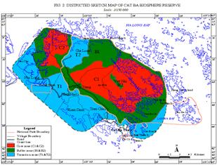 Bản đồ Khu Dự trữ sinh quyển quần đảo Cát Bà (BQLSQ 2014)