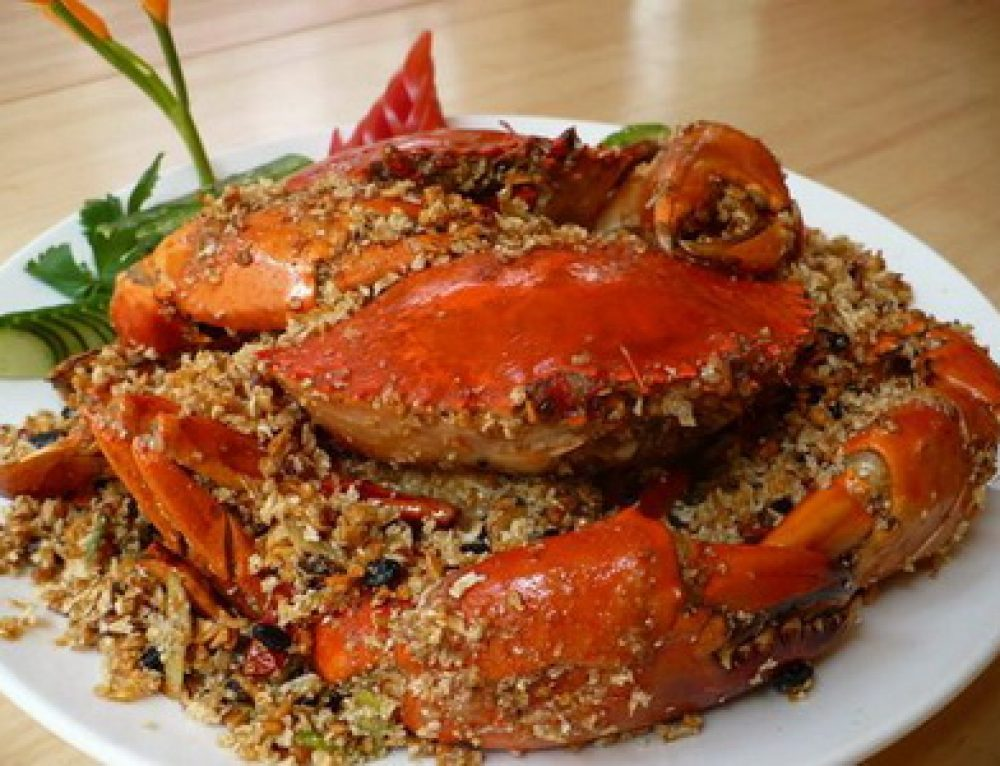 Roasted crab with salt